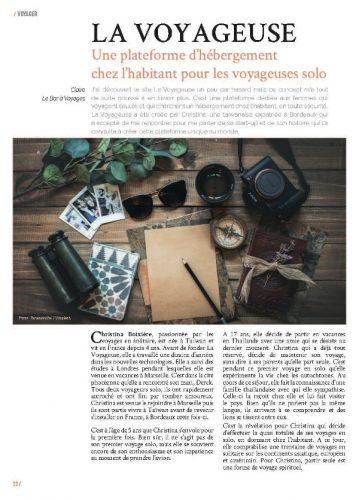 page 1 article La Voyageuse magazine MaVilleAMoi n°48